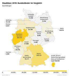 Staumeldungen nach Bundesländern. (Grafik: ADAC)